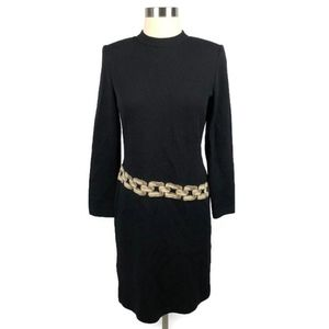 St. John Chain Embroidered Knit Dress